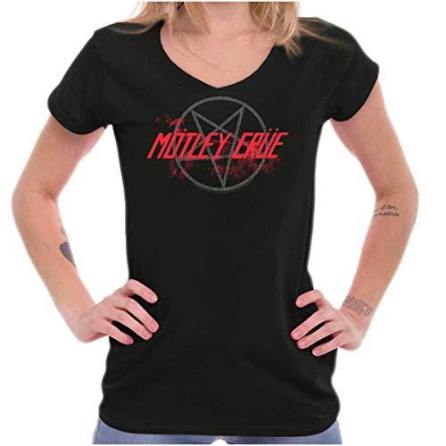 Brisco Brands Motley Crue Band Pentagram Logo Womens Petite V-Neck T Shirt Black
