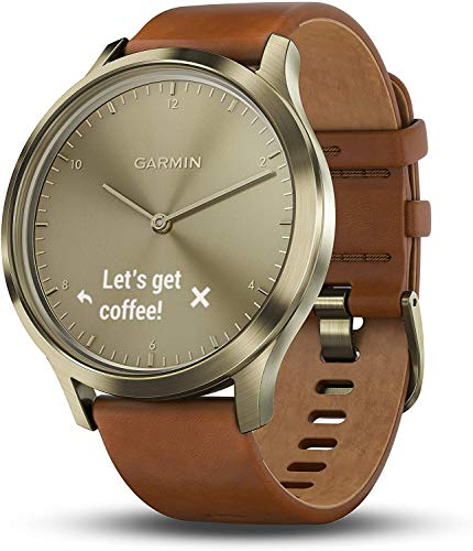 Garmin vívomove HR Touchscreen Bluetooth Brown, Gold Sport Watch – Sport Watch (Brown, Gold, Stainless Steel, Water Resistant, Leather, Glass, Ant +)