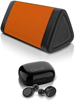 OontZ Angle 3 Bluetooth Speaker Orange and True Wireless Bluetooth 5 0 BudZ Black Rich Bass product image