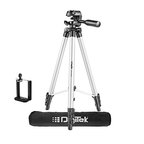 DIGITEK® (DTR 455 LT) (132 CM) Tripod Mobile Holder and Carry Bag For DV Cameras and Smartphone | Max Operating Height - 4.26 Feet | Load Capacity-3 Kg | Lightweight & Sturdy Tripod with Adjustable 3 Way Pan Head