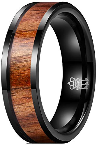 THREE KEYS JEWELRY 6mm Black Ceramic Wedding Ring with Real Koa Wood Inlay Flat Top Wedding Band Engagement Ring Comfort Fit Size 8