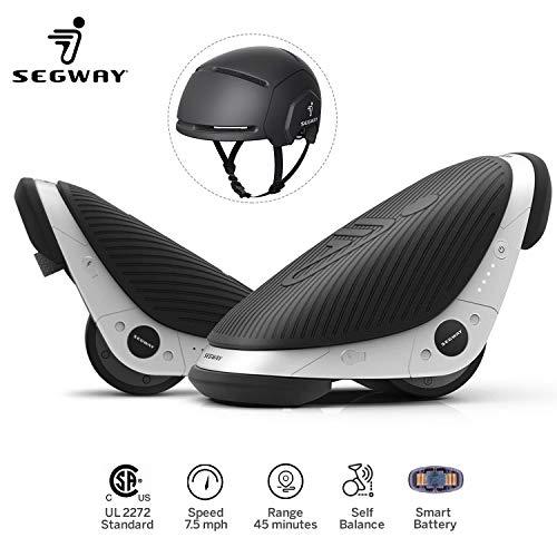 Segway Ninebot Drift W1 e-Skates Smart Self-Balancing Hovershoes with Black Adult Helmet | One Wheel Drift Freeline Roller Skates Hover Board Balance Scooter-7.5mph Max Speed