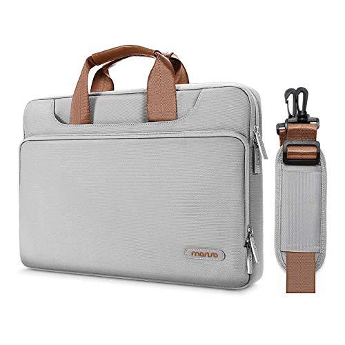 MOSISO 360 Protettiva Laptop Tracolla Borsa Compatibile con 13-13,3 Pollici MacBook Air,MacBook PRO Retina,Surface Laptop 2,Surface Book,Poliestere Valigetta Custodia con Cintura Posteriore,Grigio