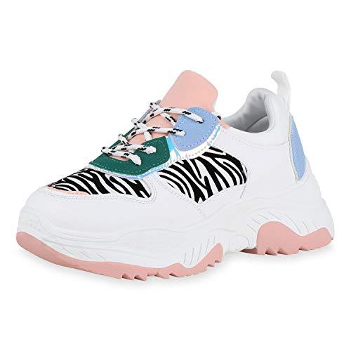 SCARPE VITA Damen Plateau Sneaker Zebra Print Freizeit Schuhe Schnürer Metallic Holo Streifen Turnschuhe 180565 Weiss Rosa Zebra 38