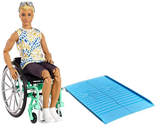 Barbie Ken Fashionistas Doll #167 with Wheelchair & Ramp Wearing Tie-Dye Shirt, Black Shorts, White Sneakers & Sunglasses, Toy for Kids 3 to 8 Years Old