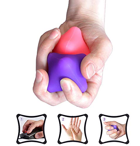 Hand Massage Exercise Therapy Balls-Deep Tissue Trigger Point Self Massage Rehab Reflexology Ball Arthritis Pain Relief Workout for Hands Palm Back Foot Shoulder Body 2Pcs