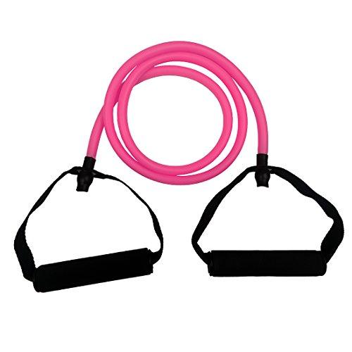 Toweter Pilates Fitness-Tube Elastica di Resistenza per Fitness con Maniglie (Rosa)