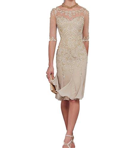 Charmant Damen Champagner Spitze Abendkleider Etuikleider Brautmutterkleider Trumpet Chiffon Rock-42 Champagner