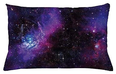 ABAKUHAUS Espacial Funda para Almohada, Nebulosa Galaxia Oscura con Estrellas Luminosas y Rayos Cósmicos Tema Astronomía, Material Lavable para Uso en Interiores y Exteriores, 65 x 40 cm, Magenta