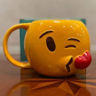 WANGSHI Süße Lustige Hocker Tasse Poop Keramik Becher Mit Deckel Poop Kaffeetasse 301-400ml Emoji-Tasse Flying Kiss ohne Cover
