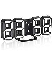 Jコートン LEDデジタル時計 3Dデザイン アラーム機能付き 置き時計 壁掛け時計 明るさ調整 日本語取扱説明書付き デジタル時計
