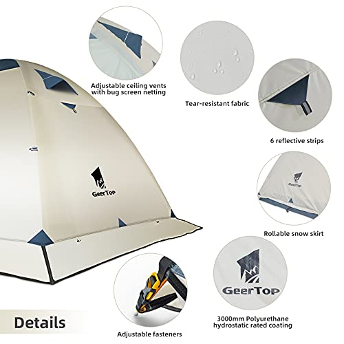 GEERTOP 2 Person Tent for Camping Waterproof 4 Season Ultralight Tent for Backpacking Outdoor Survival Easy Setup Tent