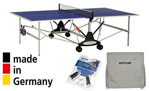 Kettler Outdoor Table Tennis Table - Axos 1 with Outdoor Accessory Bundle: 2 Halo 5.0 Paddles, Cover, and Balls.