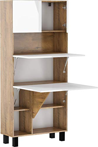 BIM Furniture Estantes de escritorio plegables HOMI, para el hogar, oficina, escritorio, mesa de ordenador, mesa plegable (roble borgoña/blanco brillante)