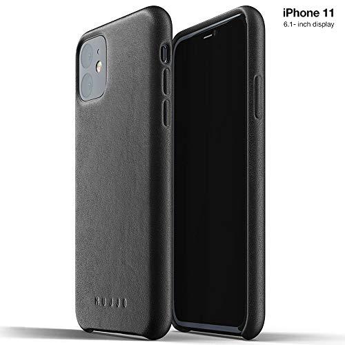 Damen-Schutzhülle für Apple iPhone 11 | Schutzhülle aus weichem Leder mit natürlichem Wildleder-Effekt, 1 mm hoch auf dem Bildschirm, sehr dünn, Schwarz