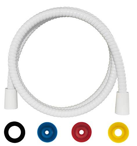 SANTRAS® Duschschlauch PREMIUM Weiß 1,50 m mit Durchflussbegrenzer – Besonders flexibler Brauseschlauch aus Easy Clean Material MADE IN GERMANY