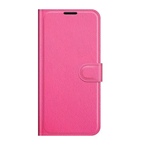 ZL ONE - Funda compatible con / repuesto para Honor 6X Flip PU Cuero Magnético Protector Bumper Case Cover (Rosa Rojo)