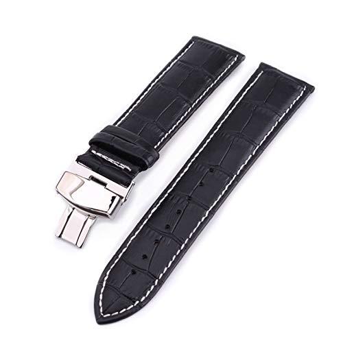 Banda de Reloj de Cuero 18-22mm Reloj de Cuero Correas con Hebilla de Acero Inoxidable Blanco Negro, 22mm