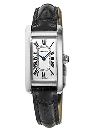Cartier Tank Americaine Stainless Steel Blue Leather Women's Watch WSTA0016