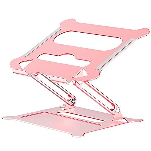Soporte para ordenador portátil, elevador ajustable con silicona antideslizante y ganchos protectores, soporte ergonómico de aluminio...