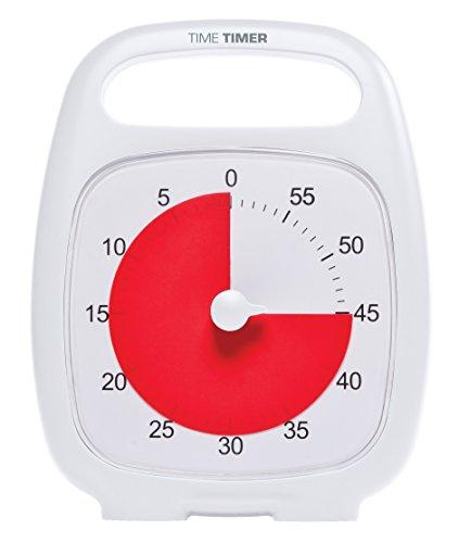TIME TIMER PLUS Timer analogico visivo di 60 minuti (bianco) Avviso opzionale (quadrante di controllo del volume) Nessun ticchettio rumoroso; Strumento di gestione del tempo
