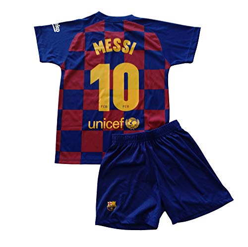 T-Shirt and Pants Set 1st kit FC. Barcelona 2019-20 - Replica with a License - Messi 10 dorsal - Boys Size 8 Years