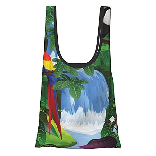 アメリカの熱帯雨林のマコーとトゥーカンの止まり木プリントフォールド環境にやさしいショッピングバッグ、トレンディな再利用可能なショッピングバッグ、環境にやさしい生地、耐久性、市場向け、ランチ、旅行