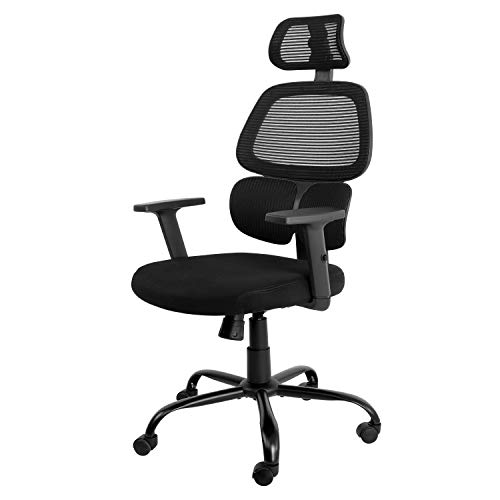 AuAg High-Back Office Chair, Ergonomics Breathable Mesh Chair with Lumbar Support, Home Office Desk Chairs with Adjustable Headrest and Armrests Rolling Executive Chair Computer Chair Gaming Chair