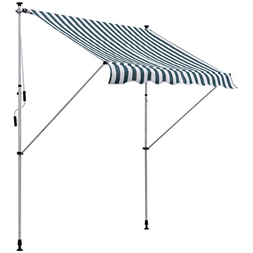 Outsunny Markise Gelenkarmmarkise Klemmmarkise 0°-90° einstellbar 1,7-2,8 m höhenverstellbar Sonnenschutz Faltarm Handkurbel Balkon Alu Grün+Weiß 200 x 150 cm