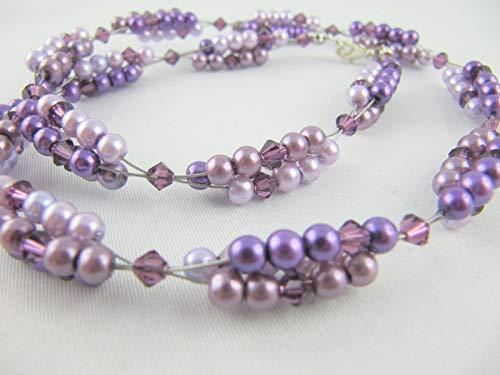 Set Collier und Armband Perlen Lila (194)