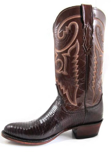 Lucchese Men's Cowboy Boots 1883 Collection T6181 IC Brown Lizard/Brown Buffalo Size 13