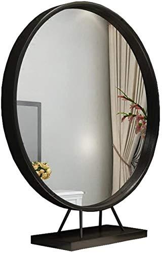 Relación calidad-precio Material de maquillaje nórdico Mirror Mesa redonda Espejo espejo de dormitorio Espejo de baño (Color: Oro, Tamaño: 40 cm) comprado para mi hija ( Color : Black , Size : 40cm )