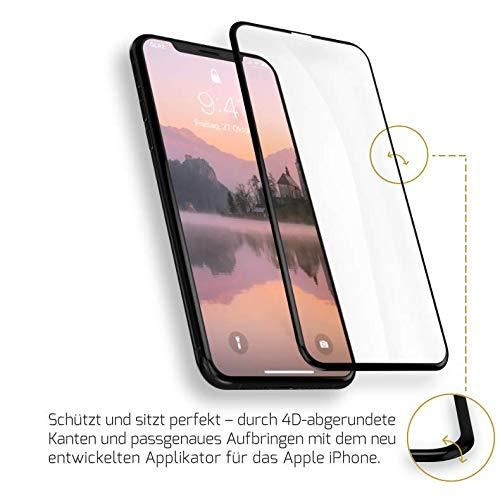 GLAZ Hybrid geeignet für iPhone XS Max Panzerglas, Schutzfolie, Curved, Mit Applikator, Staubfrei, Notch Unsichtbar, Premium Panzerfolie, Full Cover Displayschutz, 100% Passgenau