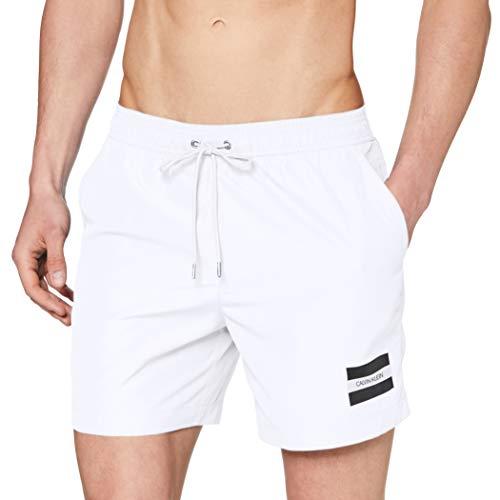 Calvin Klein Medium Drawstring Bañador, Blanco (PVH Classic White YCD), Small para Hombre
