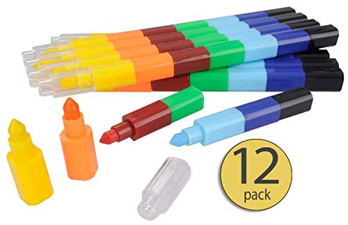 Stackable Crayons Birthday Favors for Kids Crayon Party Favors Crayon Packs Crayon Set Crayons for Kids Bulk Crayon Favors Kid Prizes for School Rainbow Favors Crayon Pencils Stacking Pencils 12 Pack