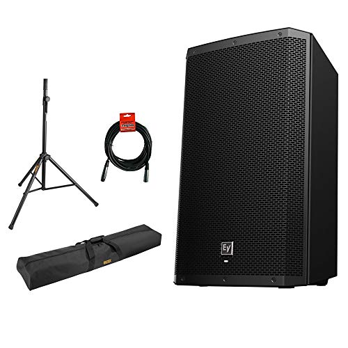 """Electro-Voice ZLX-15BT 15"""" 2-Way 1000W Bluetooth Powered Loudspeaker (Black) with Steel Speaker Stand, Stand Bag 51"""" and XLR Cable Bundle"""