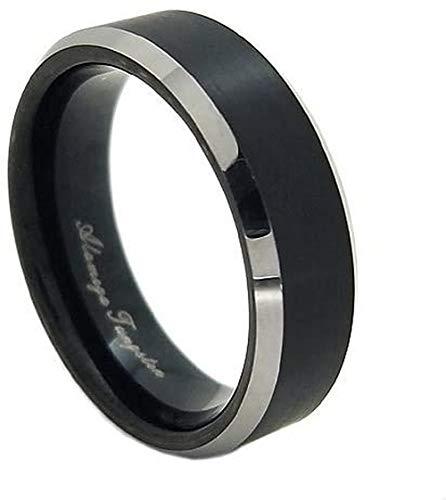 新宿銀の蔵 ブラック マットライン サイドカット メンズリング タングステン 9〜23号 (23号) 指輪 メンズ 人気 リング シンプル 黒