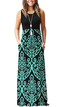AUSELILY Women Sleeveless Loose Print Floral Pleated Casual Long Maxi Dresses with Pockets  L Black Green