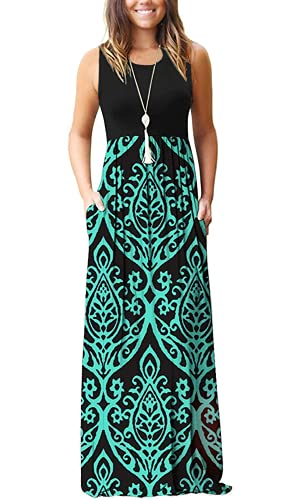 AUSELILY Women Sleeveless Loose Print Floral Pleated Casual Long Maxi Dresses with Pockets (XL, Black Green)