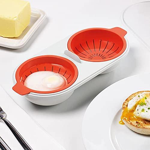 smtwape Cazador de Huevos, Huevera de Gran Capacidad, Cocina Esencial Herramientas de cocción Cocina Cocina Olla de Huevo, Adecuado para Olla de Cocina de Huevo de microondas (Naranja)