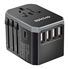 【WORLDWIDE ADAPTER】- All in one world multi function Travel Adapter covers more than 150 countries with US/EU/AU/UK plugs, Solution for your worldwide traveling. 【SMART FAST CHARGING】- 4 USB Ports, 1 USB TYPE C and 1 AC Socket to charge 6 devices sim...