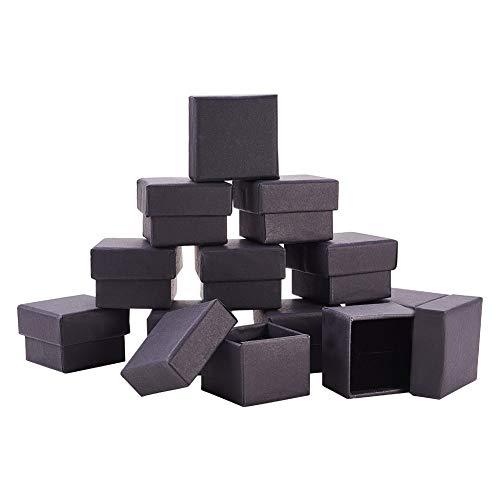 BENECREAT 24 Pack Negra Caja de Joya Caja de Cartón Craft con Almohadilla de Terciopelo Elegante para Presentación de Anillo 4.3x4.3x3.3cm