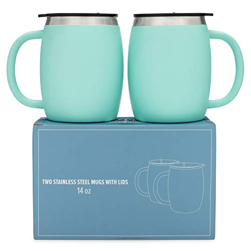 Stainless Steel Coffee Mugs with Lids - 14 Oz Double Walled Insulated Coffee Beer Mugs - Set of 2 - Mint - Best Value - BPA Free Healthy Choice - Shatterproof and Spill Resistant - By Avito