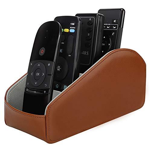 MoKo Caja de Almacenamiento de Control Remoto, Organizador Remoto de Cuero para TV de Escritorio con 5 Compartmentos para Mandos a Distancia, Oficina, Accesorios de Medios, Marrón