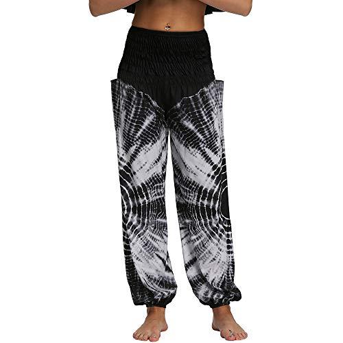 Nuofengkudu Mujer Yoga Pantalones Harem Tailandes Hippies Baggy Vintage Boho Flores Verano Alta Cintura Elastica Casual Danza Pilates Pantalon Pants Bombachos(W-Negro Teñido,Talla única)