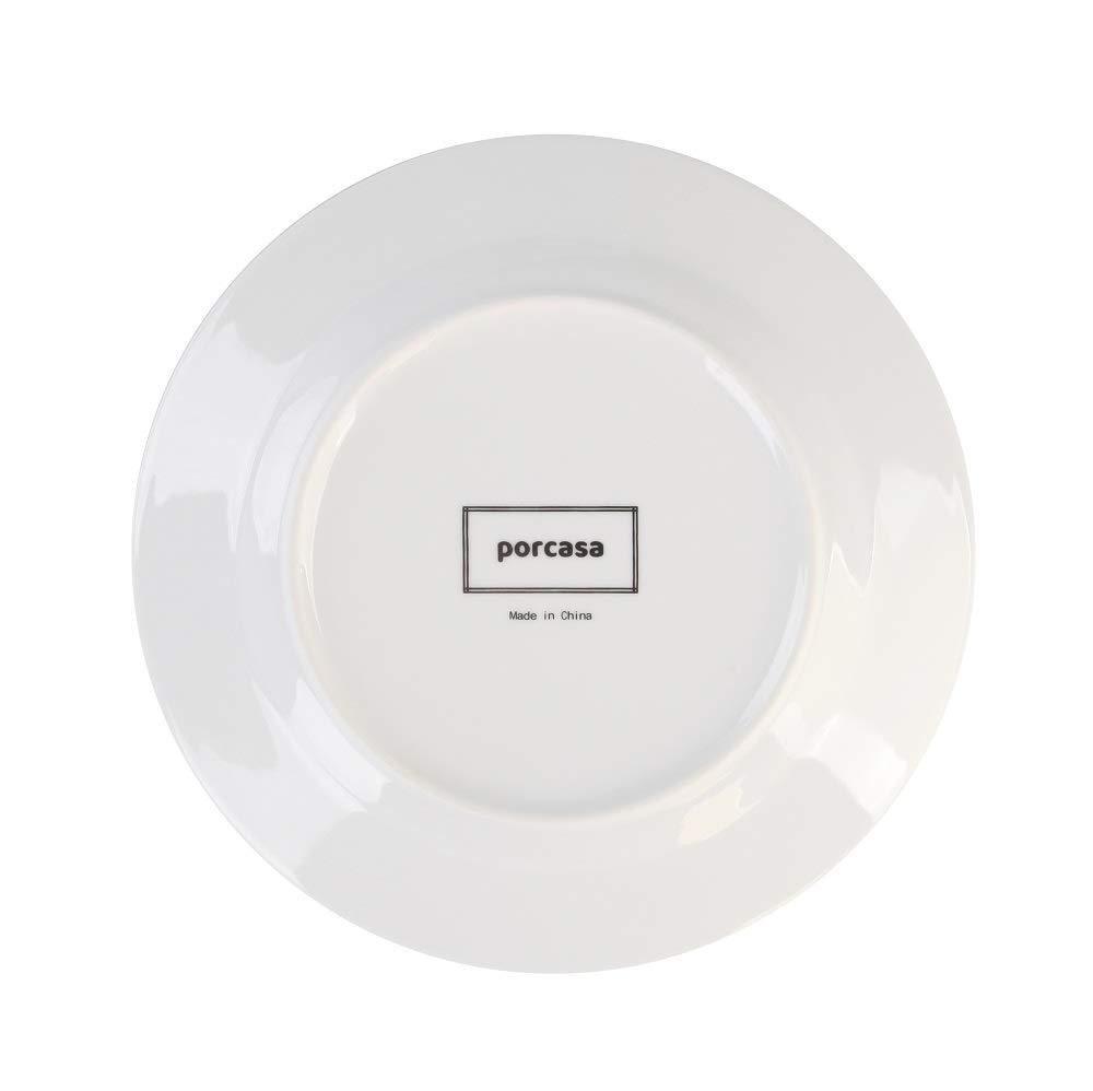 Porcasa White Porcelain Dinner Plates, Round Flat Plates, 5.5 inch, Set of  5
