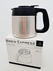 AUTHENTIC BREW EXPRESS 10-Cup replacement carafe - actual machine sold separately ** Please note: this is NOT compatible for BE112 - 12 CUP MODEL ** Replacement carafe for 10 CUP built-in/recessed model and countertop model BE110 Stainless and Black ...