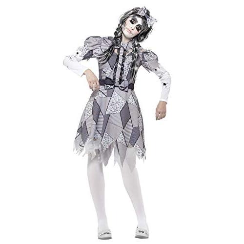 SMIFFYS Costume Bambola rotta, grigio, con abito e copricapo