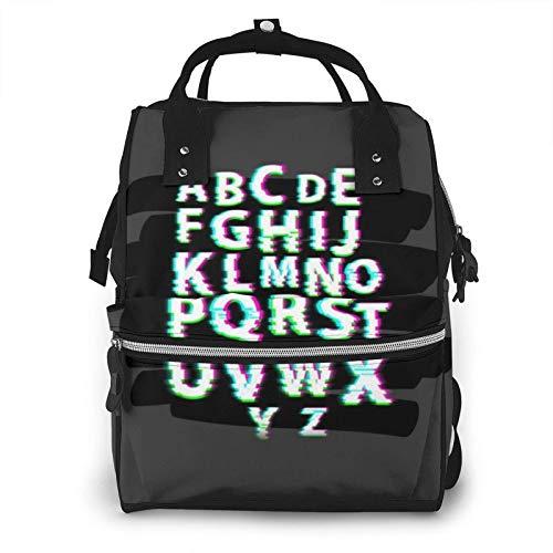 Warping Alfabeto Borsa per Pannolini Mamma Zaino Multifunzionale Grande Capacità Borsa per Pannolini Baby Travel Care Bag