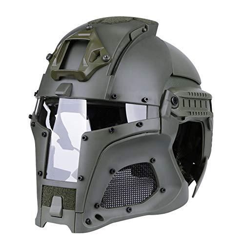 EDW Casco tattico Medievale Knight Iron Knight Warrior Paintball Helmets Maschera facciale Airsoft Integrale per attività all'aperto, Regolabile di Grandi Dimensioni (54-64 cm),Verde